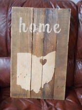 Northeast Ohio Home Love Heart Pallet Wood Rustic Handmade Shabby Chic Sign