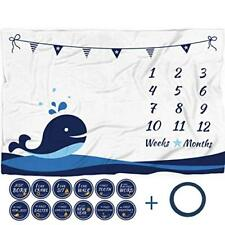 """Baby Monthly Milestone Blanket with 12 Stickers Large 60""""x40"""""""
