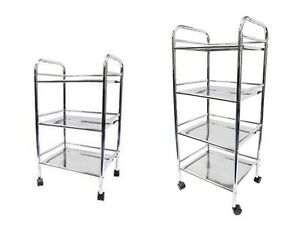 3 / 4 / 5 Tier Chrome Plated Storage Trolley Kitchen Bathroom Laundry Cart