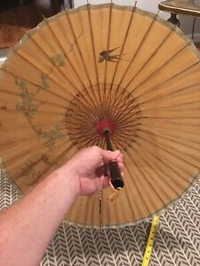 Original Vintage Hand Made/painted Wood Hawaiian Accessory Umbrella Tropical