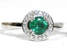 Emerald Ring 18K White gold Pave Halo Heirloom Natural Colombian color Ap