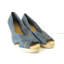 White Mountain Matador Blue Peep Toe Espadrille Wedge Heel Shoes Women's Sz 10M