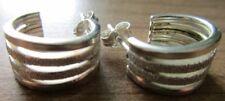 Creolen Creole Ohrringe, Silber 925, glänzend Glitzer 1,5 cm Durchmesser 4-fach