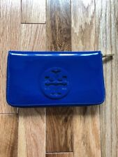 TORY BURCH CONTINENTAL ZIP JELLY BLUE PATENT LEATHER  WALLET
