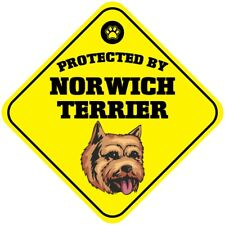 Yellow Aluminum Crossing Sign Protected by Norwich Terrier Dog Cross Xing