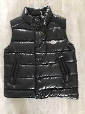 Slightly Used Boys Girls Moncler Quilted Down Puffer Vest Shiny Black Kid Sz. 6Y