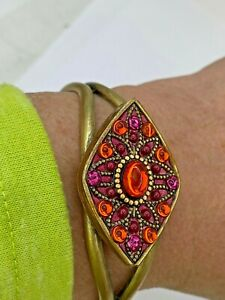 Michal Golan Pink + Orange Crystal Cuff Bracelet One Size Fits All Handmade