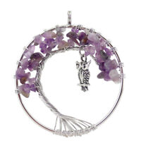 Tree Of Life Mystical Purple Amethyst Gemstone Silver Woman Owl Necklace Pendant