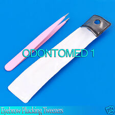 Eyebrow Plucking Tweezers 3.5'' fine point colored stainless