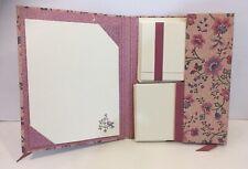 VTG Stationery Set Paper 30 Envelopes Note Cards Floral Bird Bohemian Folk Mauve