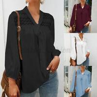 Belle Femme Col V Couture Creuse Dentelle Manche Longue Shirt Chemise Haut Plus