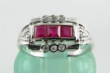 CLASS 9CT 9K WHITE GOLD INDIAN RUBY & DIAMOND ART DECO INS RING FREE RESIZE