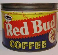 Vtg 1950s RED BUD COFFEE GRAPHIC KEYWIND COFFEE TIN ONE POUND McAlester Oklahoma