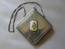 Antique Art Deco Silver Gold T Yellow Guilloche Enamel Pink Floral Compact FM Co