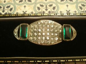Beautiful Original Antique Art Deco: Emerald & Diamond Paste Stones Set Brooch