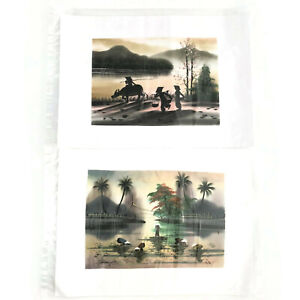 Oriental Pastel Colored Fabric Painting Unframed Home Decor Pair Souvenir Set 2
