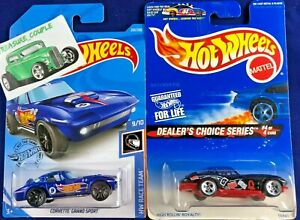 Hot Wheels - Lot of 2 - CHEVY - CORVETTE - Grand Sport & '63 Dealers Choice A180