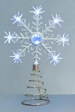 Noël Pile Led pour Sommet Sapin Étoile Haut de L'Arbre Flocon Neige Blanc Froid