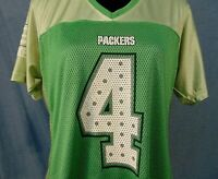 Brett Favre #4 Green Bay Packers NFL Jersey Womans Size L Reebok Sparkles Green