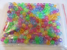 Pony Beads - 8x6mm Plastic Translucent - 200pcs - Mixed - NEW - AUS SELLER