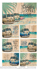 'Vintage Kombi' Lisa Pollock Inspirational Cork Backed Coasters - Set of 6 *NEW*