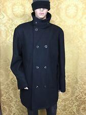 OLD NAVY WOOL winter double breasted grey/black overcoat peacoat men's XL
