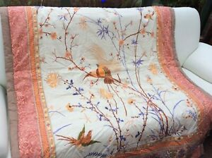 Bassetti Plaid Fong beige orange 135x190cm Wohndecke Kuscheldecke Decke Asia