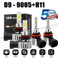 4x 9005+H11 LED Headlight KIT Fog Bulb Light Hi/Lo Beam 6000K VS Xenon HID White