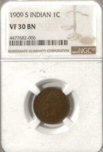 1909-S Indian Cent   NGC VF 30 BN   San Francisco   Key Date
