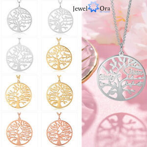 Personalized Tree of Life Necklace Custom 1-9 Name Pendant For Family Christmas
