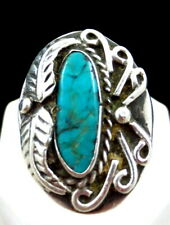 VINTAGE SOUTHWESTERN STERLING SILVER TURQUOISE RING SZ 10 1/4