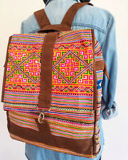 Vintage ฺBackpack Thai Hmong Tribal Beautiful Multi-Color Unisex Hand Embroidery