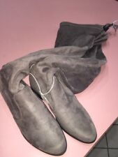 Grey Size 5 Knee High Fashion Boots With One Inch Heel