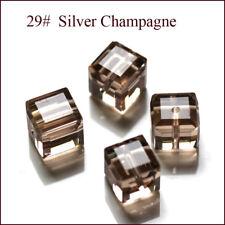Wholesale Cube Crystal Glass Loose Beads Fot Jewelry DIY Making 6mm 4mm U Pick