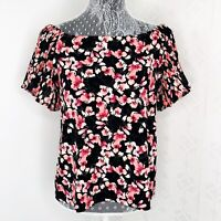 White House Black Market Off the Shoulder Top Black Pink Floral Pleated Small