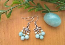 Blue AMAZONITE Gemstone On Chinese Lucky Knot, Drop Dangle Earrings ~ Feng Shui