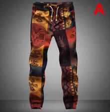 Hot Men's Cotton Drawstring Gecko Floral Pattern Print Narrow Feet Jogger Pants