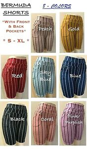 Women's Stretch Striped Casual Pull-On Bermuda Shorts with Front & Back Pockets
