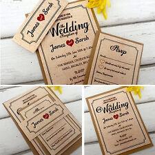 Personalised Wedding Invitations & Evening Invites with Envelopes Vintage