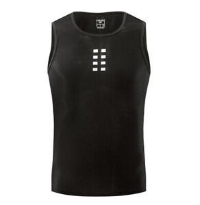 Men Running Sports Cycling Base Layer Sleeveless Black Vest Mesh Lightweight Top