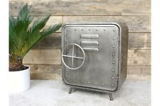 Small Metal Vault Style Industrial Side Table / Lamp Table / Bedside