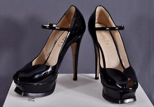 YSL Black Patent Leather Platform Heel Open Toe Women's Pumps Sandals IT 36 US 5