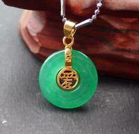 Yellow Gold Plate Green JADE Pendant Circle Chinese Love Word 爱平安扣 320499