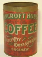 Old Vintage 1930s BANCROFT HOUSE COFFEE TIN GRAPHIC ONE POUND SAGINAW MICHIGAN