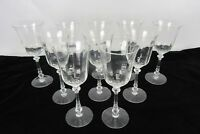 Vintage Set of 10 Ornate Stem Crystal Wine Drinking Glasses