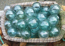"Japanese GLASS Fishing FLOATS 3.5"" LOT-9 Round Net Buoy BALLS Authentic Vintage"