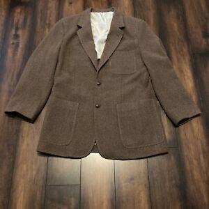 NAT NAST Brown Mens Tweed Wool Cashmere 3 Button Sport Coat Blazer Jacket Sz M