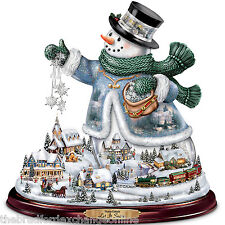 "Thomas Kinkade ""Let It Snow"" Snowman Tabletop Centerpiece: Lights, Train, Music"