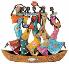 Colorful African Women Group Sculpture Water Carriers Statue Centerpiece Display