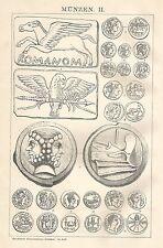 B0414 Varietà di Monete - Xilografia d'epoca - 1903 Vintage engraving